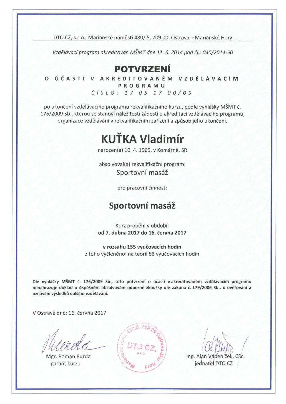 sportovní masáž Karviná - certifikát