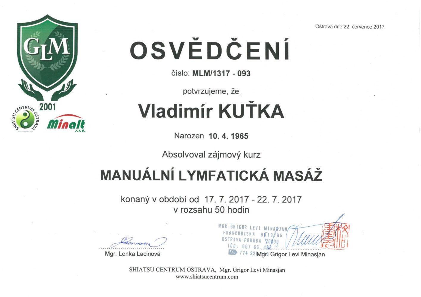 manuální lymfatická masáž - certifikát Karviná
