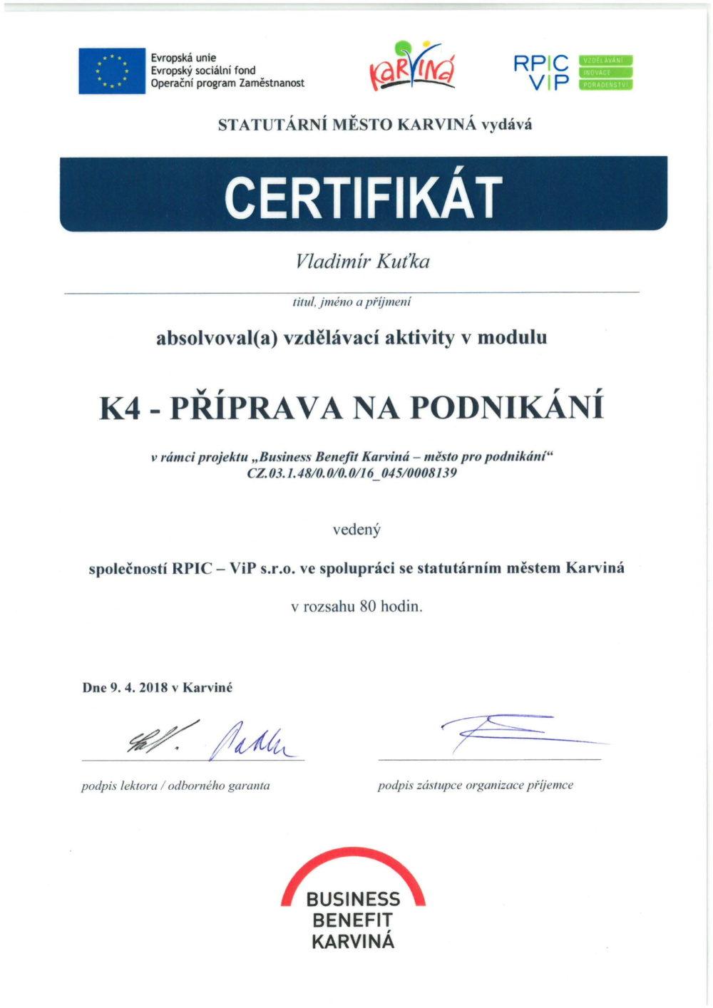 certifikát podnikání