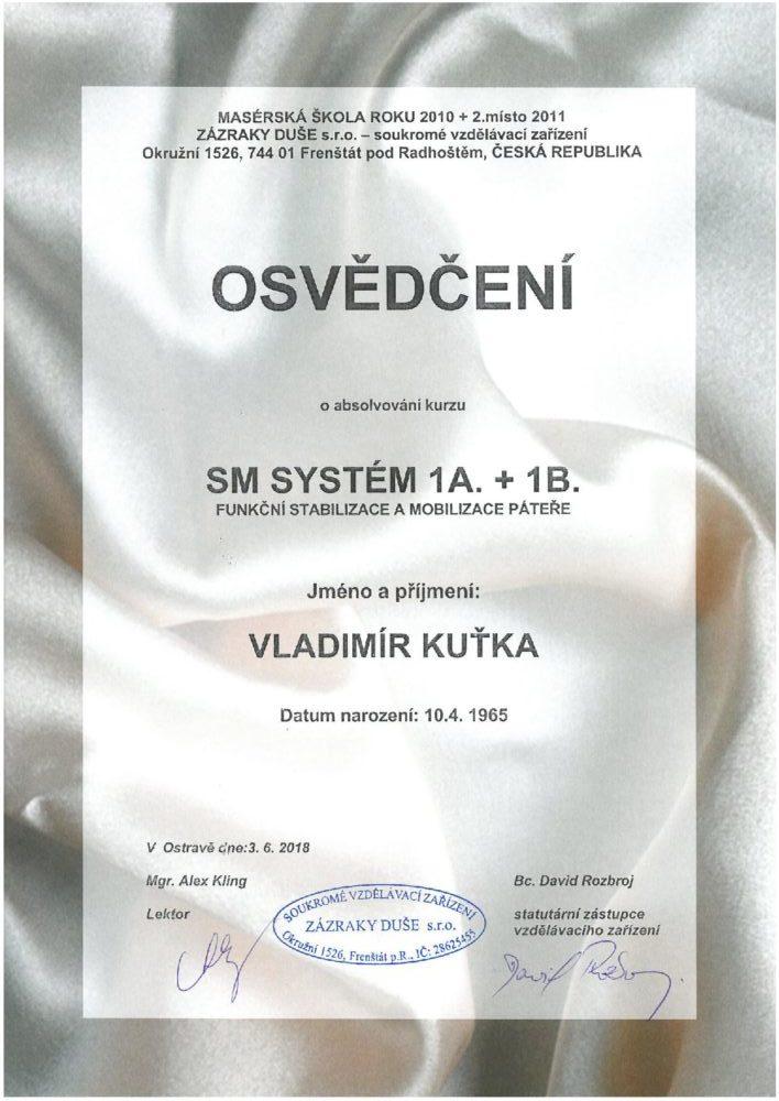 certifikát SM systém - masáže Karviná